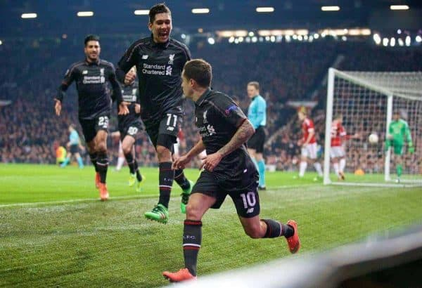 MANCHESTER, ENGLAND - Wednesday, March 16, 2016: Liverpool's Philippe Coutinho Correia celebrates scoring the first goal against Manchester United during the UEFA Europa League Round of 16 2nd Leg match at Old Trafford. (Pic by David Rawcliffe/Propaganda)