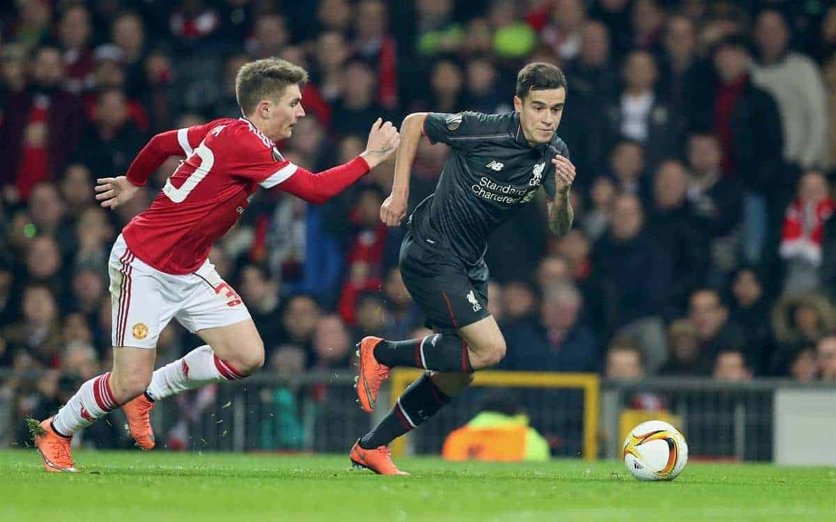 MANCHESTER, ENGLAND - Wednesday, March 16, 2016: Liverpool's Philippe Coutinho Correia on his way to scores the first goal against Manchester United during the UEFA Europa League Round of 16 2nd Leg match at Old Trafford. (Pic by David Rawcliffe/Propaganda)