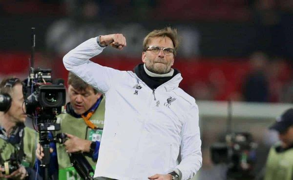MANCHESTER, ENGLAND - Wednesday, March 16, 2016: Liverpool's manager Jürgen Klopp celebrates after a 1-1 draw, 3-1 on aggregate, victory over Manchester United during the UEFA Europa League Round of 16 2nd Leg match at Old Trafford. (Pic by David Rawcliffe/Propaganda)