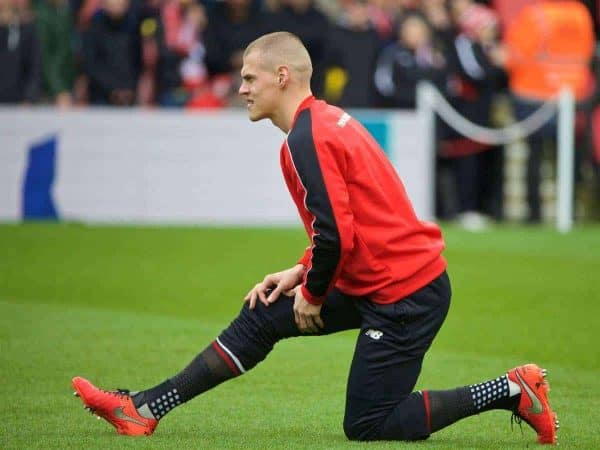 SOUTHAMPTON, ENGLAND - Sunday, March 20, 2016: Liverpool's Martin Skrtel warms-up before the FA Premier League match against Southampton at St Mary's Stadium. (Pic by David Rawcliffe/Propaganda)