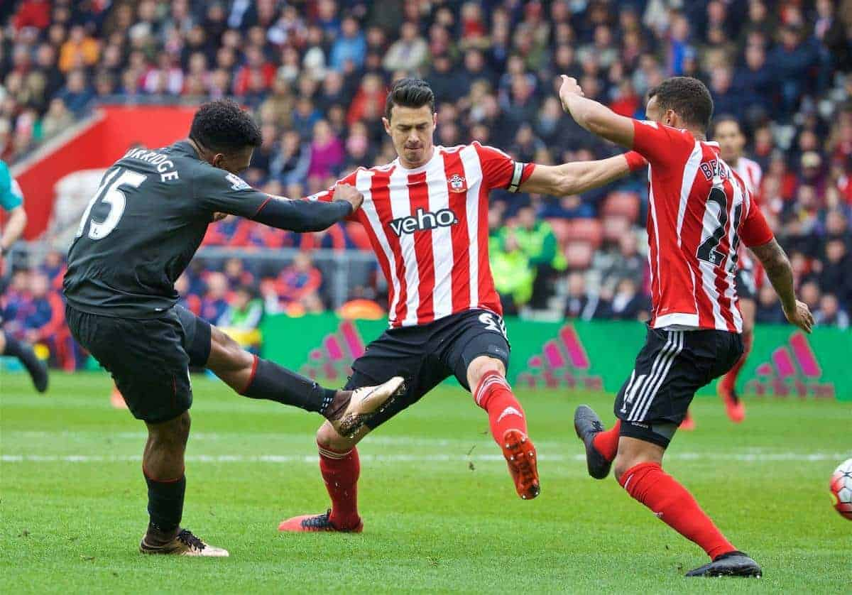 SOUTHAMPTON, ENGLAND - Sunday, March 20, 2016: Liverpool's Daniel Sturridge scores the second goal against Southampton during the FA Premier League match at St Mary's Stadium. (Pic by David Rawcliffe/Propaganda)