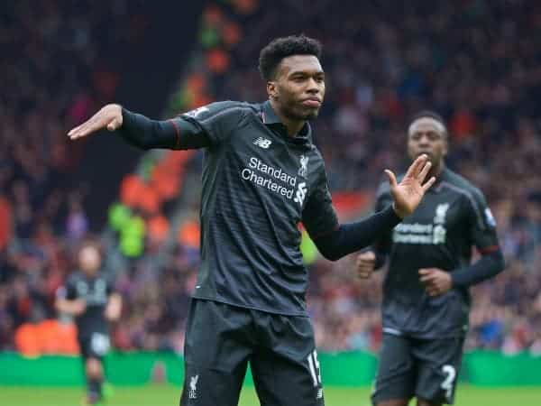 SOUTHAMPTON, ENGLAND - Sunday, March 20, 2016: Liverpool's Daniel Sturridge celebrates scoring the second goal against Southampton during the FA Premier League match at St Mary's Stadium. (Pic by David Rawcliffe/Propaganda)