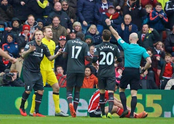 SOUTHAMPTON, ENGLAND - Sunday, March 20, 2016: Liverpool's Martin Skrtel is shown a yellow card after conceding a penalty to Southampton during the FA Premier League match at St Mary's Stadium. (Pic by David Rawcliffe/Propaganda)
