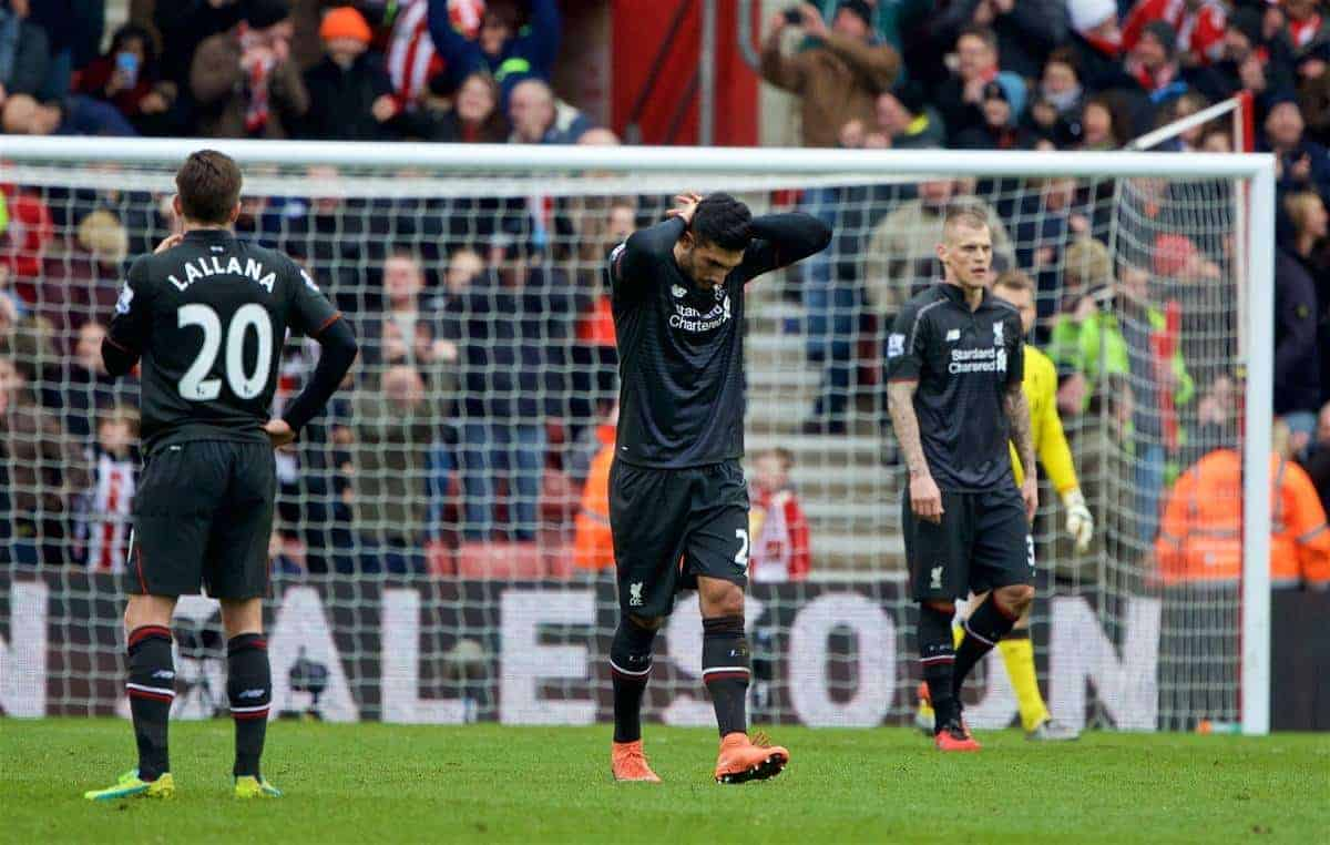SOUTHAMPTON, ENGLAND - Sunday, March 20, 2016: Liverpool's Emre Can looks dejected as his side concede a third goal to Southampton during the FA Premier League match at St Mary's Stadium. (Pic by David Rawcliffe/Propaganda)
