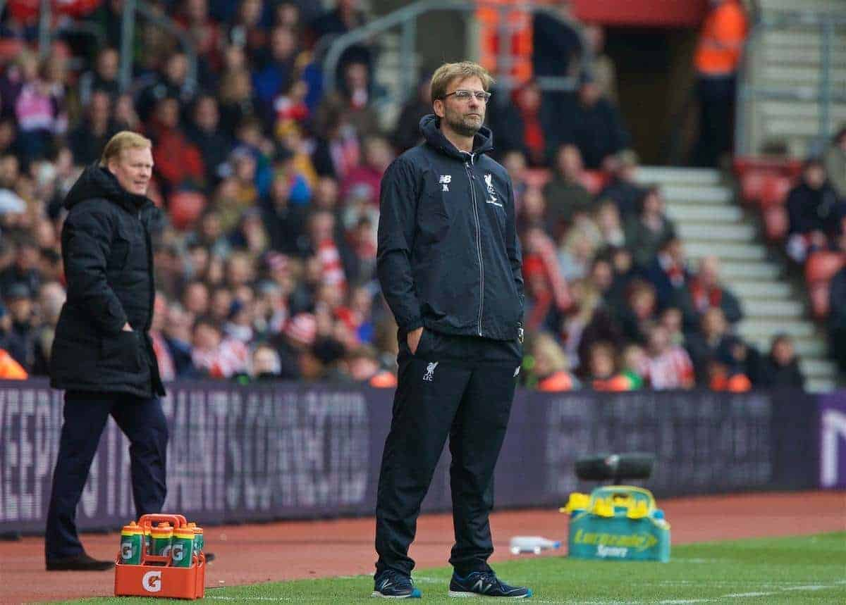 SOUTHAMPTON, ENGLAND - Sunday, March 20, 2016: Liverpool's manager Jürgen Klopp during the FA Premier League match against Southampton at St Mary's Stadium. (Pic by David Rawcliffe/Propaganda)