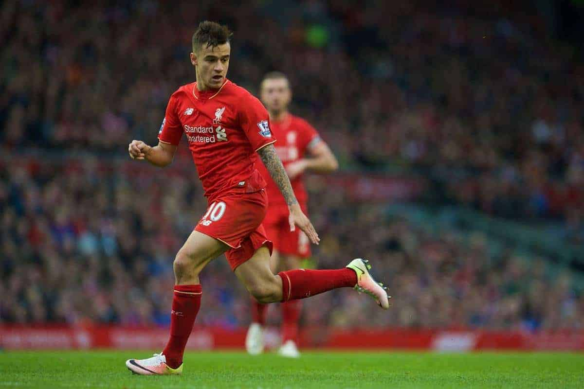LIVERPOOL, ENGLAND - Saturday, April 2, 2016: Liverpool's Philippe Coutinho Correia in action against Tottenham Hotspur during the Premier League match at Anfield. (Pic by David Rawcliffe/Propaganda)
