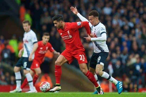 LIVERPOOL, ENGLAND - Saturday, April 2, 2016: Liverpool's Emre Can in action against Tottenham Hotspur's Dele Alli during the Premier League match at Anfield. (Pic by David Rawcliffe/Propaganda)