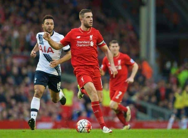 LIVERPOOL, ENGLAND - Saturday, April 2, 2016: Liverpool's captain Jordan Henderson in action against Tottenham Hotspur during the Premier League match at Anfield. (Pic by David Rawcliffe/Propaganda)