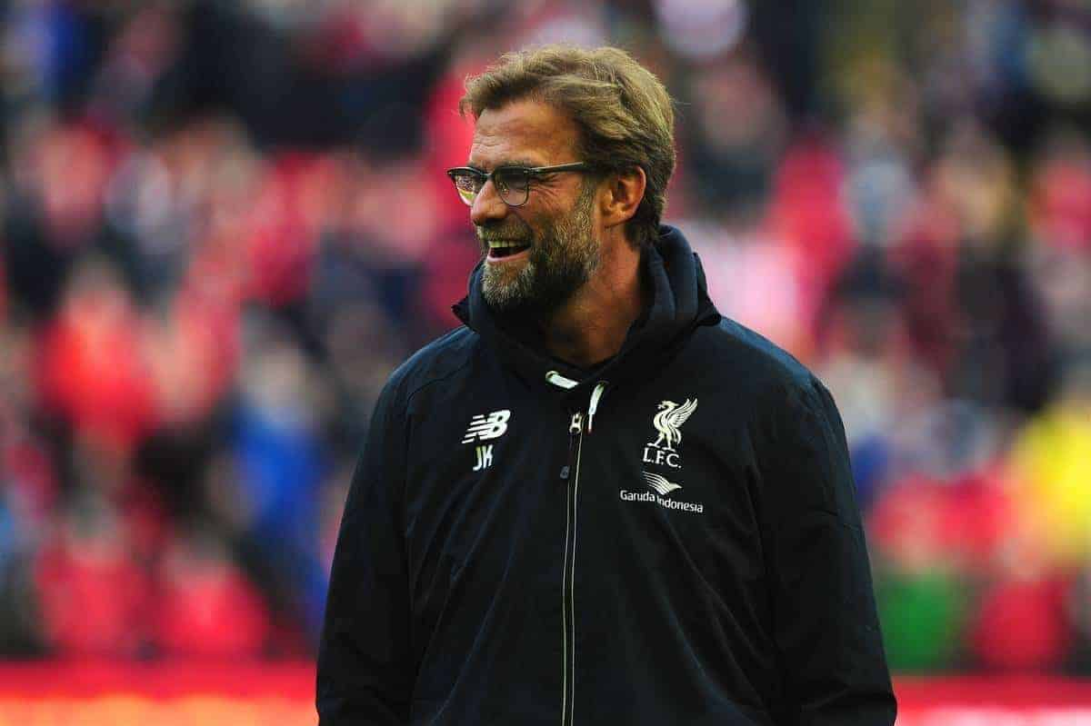 LIVERPOOL, ENGLAND - Saturday, April 2, 2016: Liverpool's manager Jürgen Klopp before during the Premier League match against Tottenham Hotspur at Anfield. (Pic by David Rawcliffe/Propaganda)