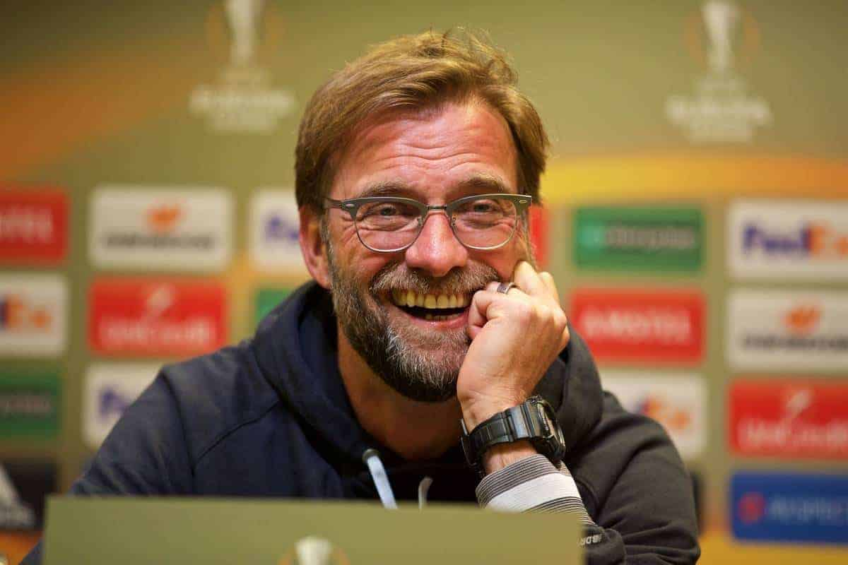 DORTMUND, GERMANY - Wednesday, April 6, 2016: Liverpool's manager Jürgen Klopp during a press conference at Westfalenstadion ahead of the UEFA Europa League Quarter-Final 1st Leg match against Borussia Dortmund. (Pic by David Rawcliffe/Propaganda)