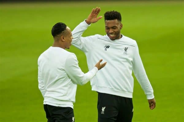 Liverpool's Daniel Sturridge and Nathaniel Clyne during a training session at Westfalenstadion ahead of the UEFA Europa League Quarter-Final 1st Leg match against Borussia Dortmund. (Pic by David Rawcliffe/Propaganda)