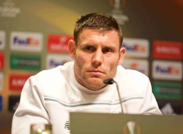 Liverpool's James Milner during a press conference at Westfalenstadion ahead of the UEFA Europa League Quarter-Final 1st Leg match against Borussia Dortmund. (Pic by David Rawcliffe/Propaganda)