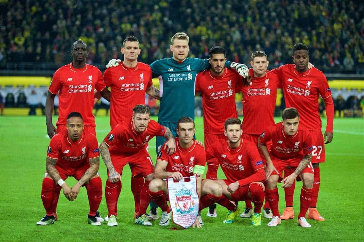 DORTMUND, GERMANY - Thursday, April 7, 2016: Liverpool's players line up for a team group photograph before the UEFA Europa League Quarter-Final 1st Leg match against Borussia Dortmund at Westfalenstadion. Back row L-R: Mamadou Sakho, Dejan Lovren, goalkeeper Simon Mignolet, Emre Can, James Milner, Divock Origi. Front row L-R: Nathaniel Clyne, Alberto Moreno, captain Jordan Henderson, Adam Lallana and Philippe Coutinho Correia. (Pic by David Rawcliffe/Propaganda)