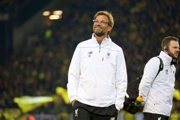 Liverpool's manager Jürgen Klopp before the UEFA Europa League Quarter-Final 1st Leg match against Borussia Dortmund at Westfalenstadion. (Pic by David Rawcliffe/Propaganda)