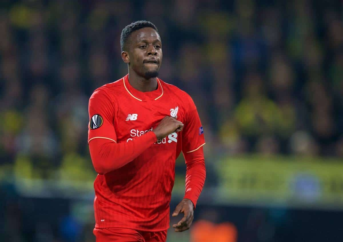 DORTMUND, GERMANY - Thursday, April 7, 2016: Liverpool's Divock Origi celebrates scoring the first goal against Borussia Dortmund during the UEFA Europa League Quarter-Final 1st Leg match at Westfalenstadion. (Pic by David Rawcliffe/Propaganda)