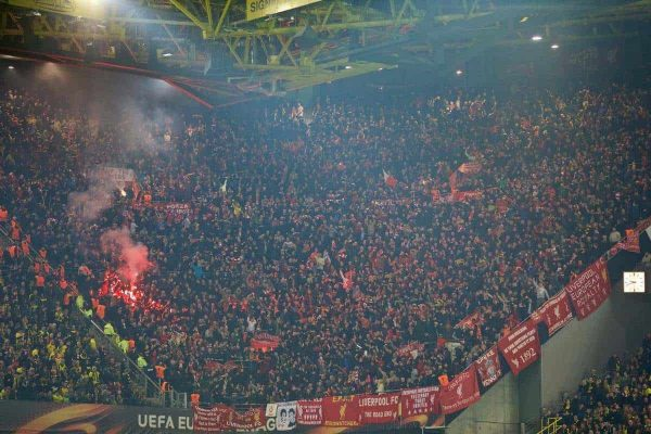 DORTMUND, GERMANY - Thursday, April 7, 2016: Liverpool supporters celebrate their side's opening goal with a red flare during the UEFA Europa League Quarter-Final 1st Leg match against Borussia Dortmund at Westfalenstadion. (Pic by David Rawcliffe/Propaganda)