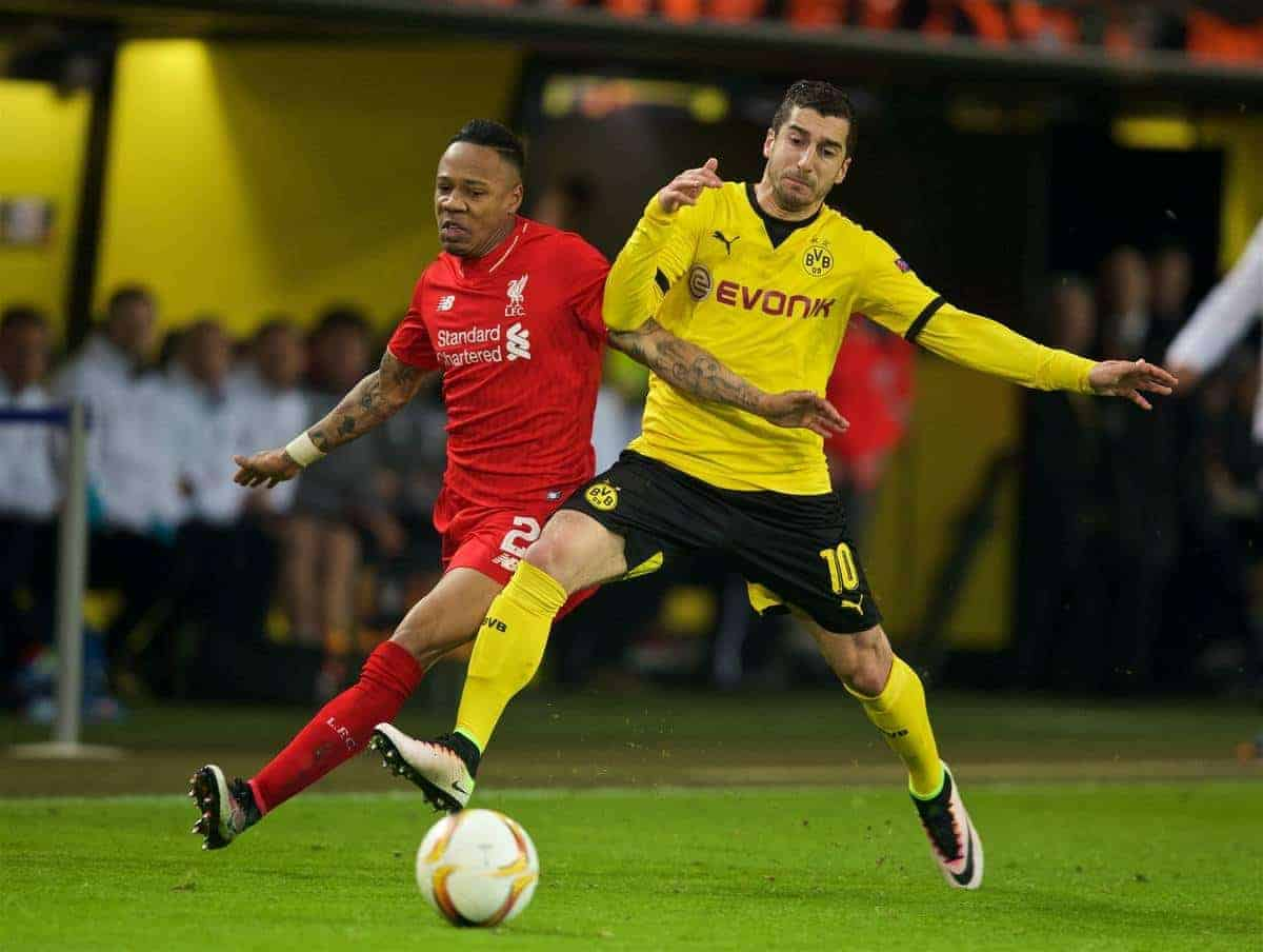 DORTMUND, GERMANY - Thursday, April 7, 2016: Liverpool's Nathaniel Clyne in action against Borussia Dortmund's Henrik Mkhitaryan during the UEFA Europa League Quarter-Final 1st Leg match at Westfalenstadion. (Pic by David Rawcliffe/Propaganda)