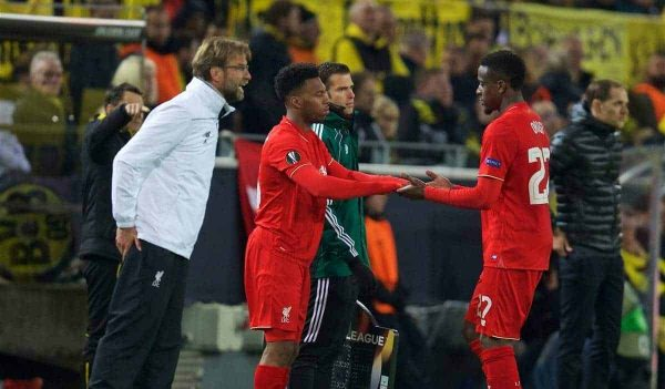 DORTMUND, GERMANY - Thursday, April 7, 2016: Liverpool's Divock Origi is replaced by substitute Daniel Sturridge against Borussia Dortmund during the UEFA Europa League Quarter-Final 1st Leg match at Westfalenstadion. (Pic by David Rawcliffe/Propaganda)