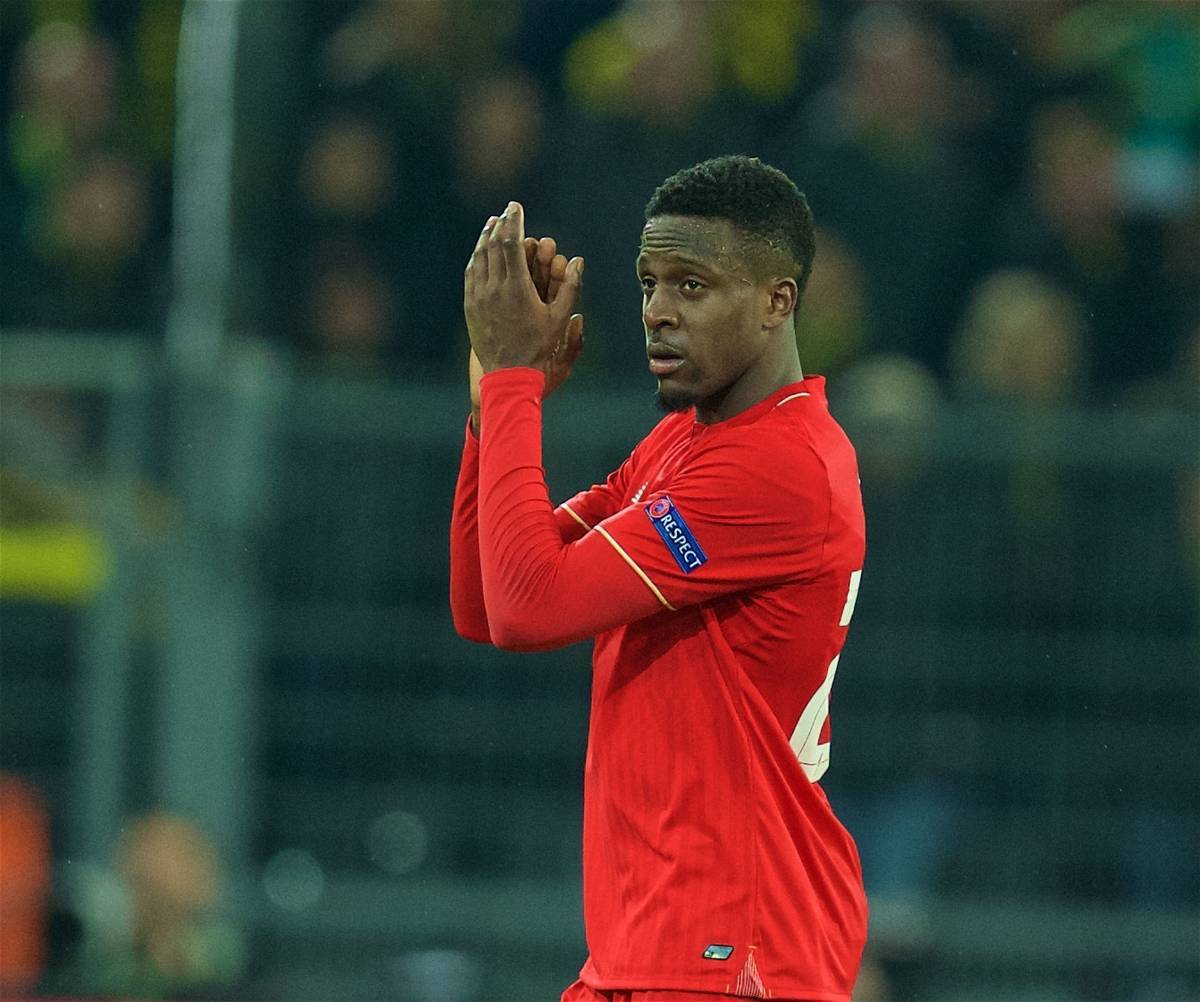 DORTMUND, GERMANY - Thursday, April 7, 2016: Liverpool's goal-scorer Divock Origi applauds the supporters as he is substituted against Borussia Dortmund during the UEFA Europa League Quarter-Final 1st Leg match at Westfalenstadion. (Pic by David Rawcliffe/Propaganda)
