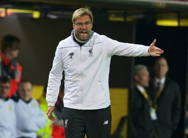 DORTMUND, GERMANY - Thursday, April 7, 2016: Liverpool's manager Jürgen Klopp during the UEFA Europa League Quarter-Final 1st Leg match against Borussia Dortmund at Westfalenstadion. (Pic by David Rawcliffe/Propaganda)