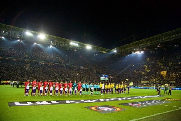 DORTMUND, GERMANY - Thursday, April 7, 2016: Liverpool and Borussia Dortmund players line-up before the UEFA Europa League Quarter-Final 1st Leg match at Westfalenstadion. (Pic by David Rawcliffe/Propaganda)
