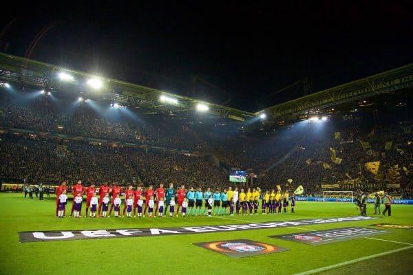 DORTMUND, GERMANY - Thursday, April 7, 2016: Liverpool and Borussia Dortmund players line-up before the UEFA Europa League Quarter-Final 1st Leg match at Westfalenstadion. (Pic by David Rawcliffe/Propaganda)