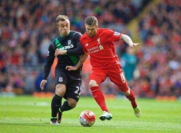LIVERPOOL, ENGLAND - Sunday, April 10, 2016: Liverpool's Alberto Moreno in action against Stoke City's Xherdan Shaqiri during the Premier League match at Anfield. (Pic by David Rawcliffe/Propaganda)