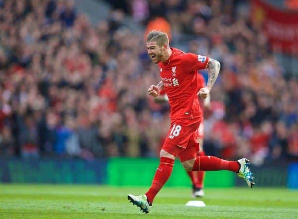 LIVERPOOL, ENGLAND - Sunday, April 10, 2016: Liverpool's Alberto Moreno celebrates scoring the first goal against Stoke City during the Premier League match at Anfield. (Pic by David Rawcliffe/Propaganda)