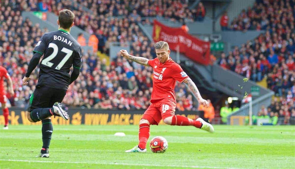 LIVERPOOL, ENGLAND - Sunday, April 10, 2016: Liverpool's Alberto Moreno scores the first goal against Stoke City during the Premier League match at Anfield. (Pic by David Rawcliffe/Propaganda)