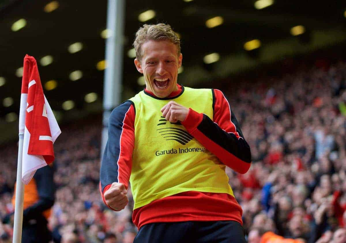 LIVERPOOL, ENGLAND - Sunday, April 10, 2016: Liverpool's Lucas Leiva celebrates his side's second goal after receiving abuse from Stoke City supporters during the Premier League match at Anfield. (Pic by David Rawcliffe/Propaganda)