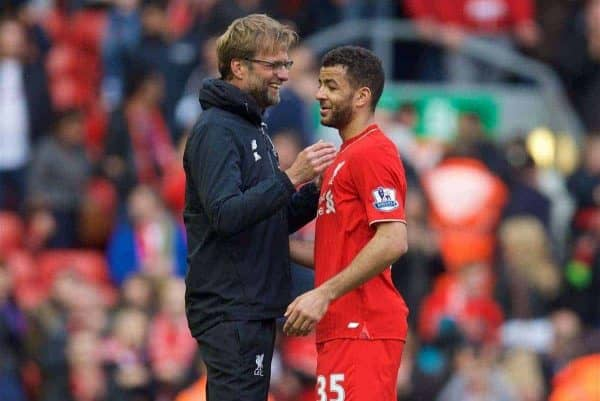 LIVERPOOL, ENGLAND - Sunday, April 10, 2016: Liverpool's manager Jürgen Klopp hugs Kevin Stewart after the 4-1 victory over Stoke City during the Premier League match at Anfield. (Pic by David Rawcliffe/Propaganda)