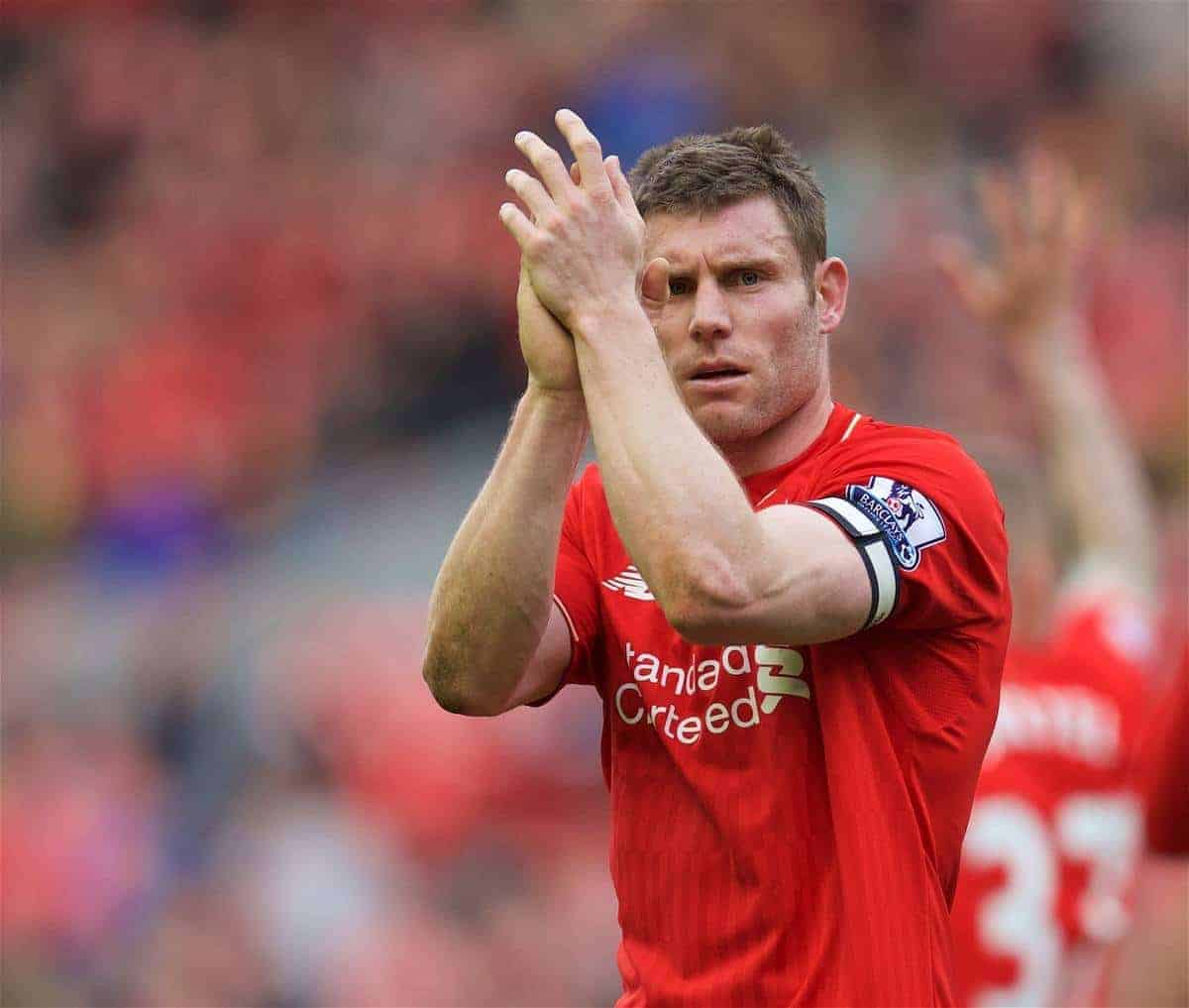 LIVERPOOL, ENGLAND - Sunday, April 10, 2016: Liverpool's James Milner applauds the supporters after the 4-1 victory over Stoke City during the Premier League match at Anfield. (Pic by David Rawcliffe/Propaganda)