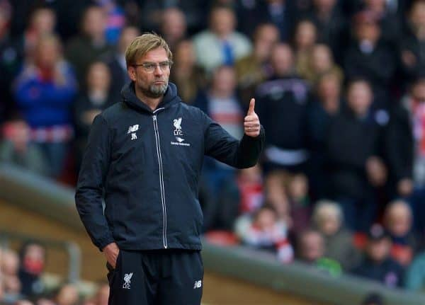LIVERPOOL, ENGLAND - Sunday, April 10, 2016: Liverpool's manager Jürgen Klopp gives the thumbs-up to his side's 4-1 demolition of Stoke City during the Premier League match at Anfield. (Pic by David Rawcliffe/Propaganda)