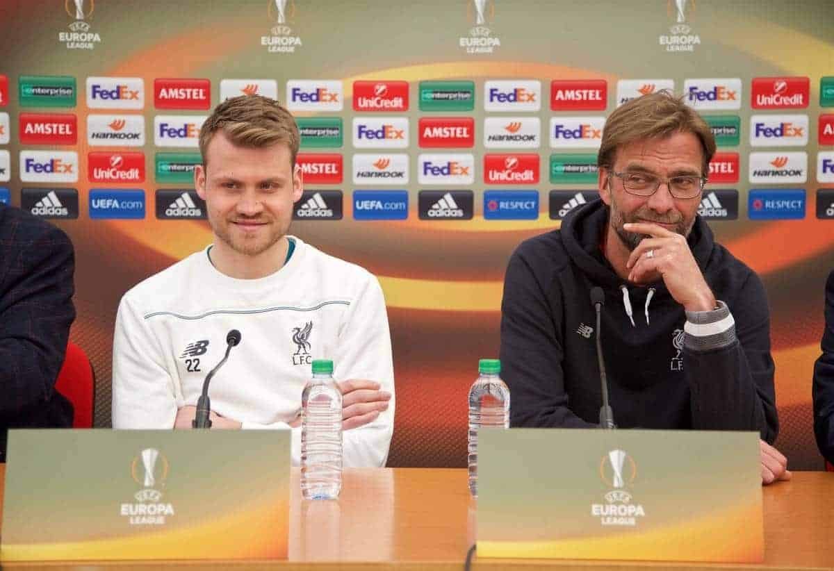 LIVERPOOL, ENGLAND - Wednesday, April 13, 2016: Liverpool's goalkeeper Simon Mignolet and manager Jürgen Klopp during a press conference at Melwood Training Ground ahead of the UEFA Europa League Quarter-Final 2nd Leg match against Borussia Dortmund. (Pic by David Rawcliffe/Propaganda)