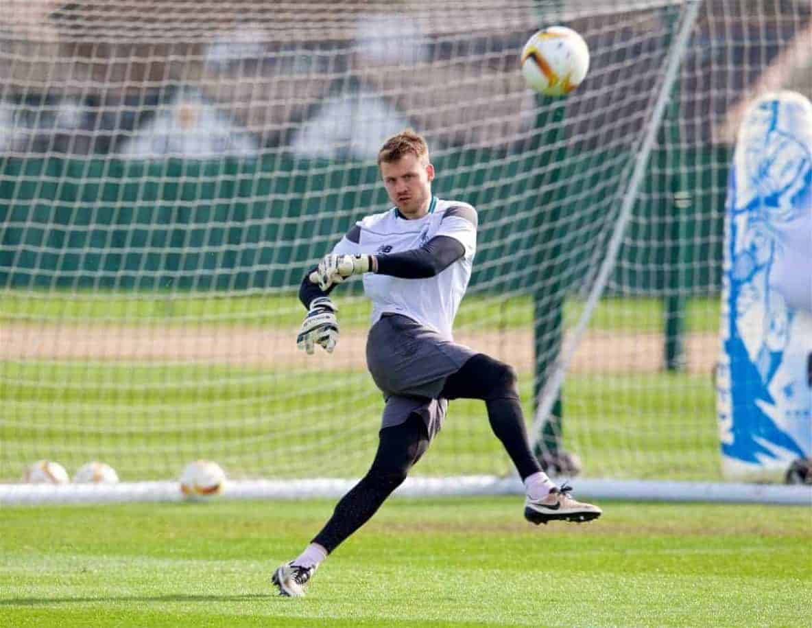 LIVERPOOL, ENGLAND - Wednesday, April 13, 2016: Liverpool's Simon Mignolet during a training session at Melwood Training Ground ahead of the UEFA Europa League Quarter-Final 2nd Leg match against Borussia Dortmund. (Pic by David Rawcliffe/Propaganda)