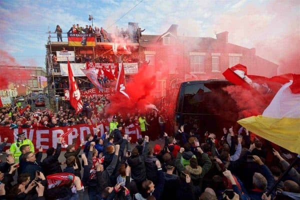 LIVERPOOL, ENGLAND - Thursday, April 14, 2016: Liverpool supporters welcome the Liverpool team coach to Anfield before the UEFA Europa League Quarter-Final 2nd Leg match against Borussia Dortmund. (Pic by David Rawcliffe/Propaganda)