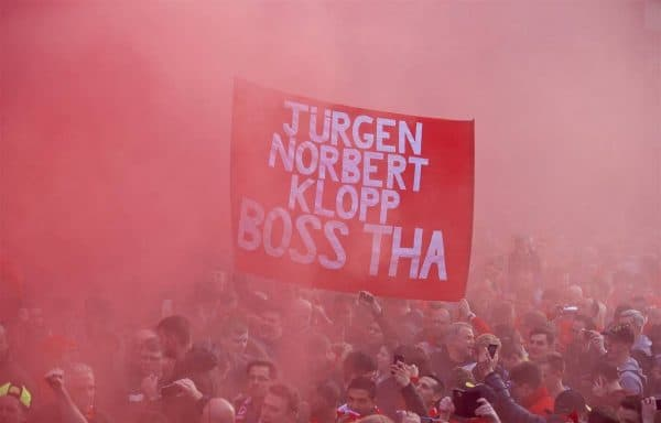 "Liverpool supporters' banner ""Jurgen Norbert Klopp Boss Tha"" as the fans welcome the Liverpool team coach to Anfield before the UEFA Europa League Quarter-Final 2nd Leg match against Borussia Dortmund. (Pic by David Rawcliffe/Propaganda)"