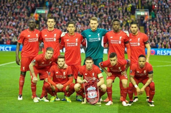 LIVERPOOL, ENGLAND - Thursday, April 14, 2016: Liverpool's players line up for a team group photograph before the UEFA Europa League Quarter-Final 2nd Leg match against Borussia Dortmund at Anfield. (Pic by David Rawcliffe/Propaganda)