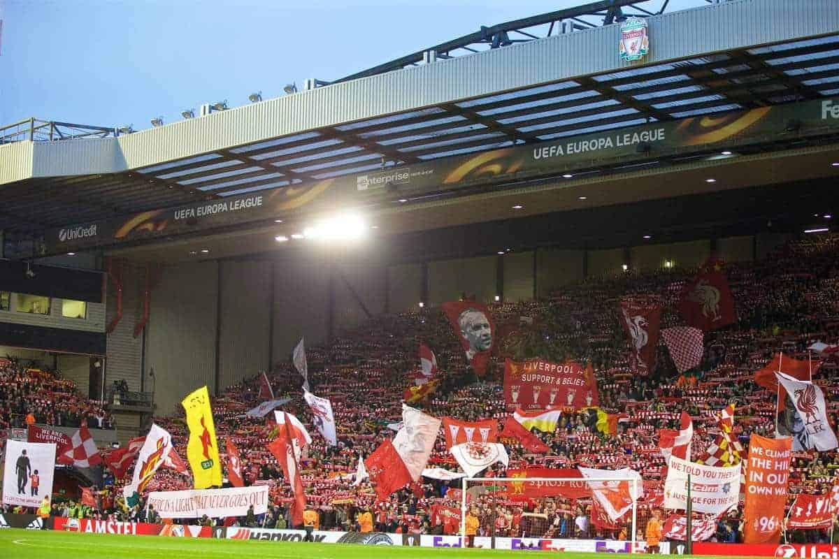 LIVERPOOL, ENGLAND - Thursday, April 14, 2016: Liverpool supporters on the Spion Kop before the UEFA Europa League Quarter-Final 2nd Leg match against Borussia Dortmund at Anfield. (Pic by David Rawcliffe/Propaganda)