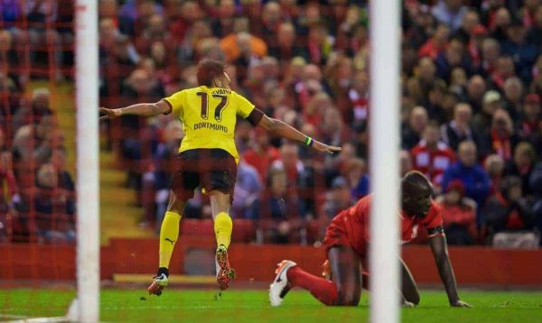 LIVERPOOL, ENGLAND - Thursday, April 14, 2016: Borussia Dortmund's Pierre-Emerick Aubameyang celebrates scoring the second goal against Liverpool during the UEFA Europa League Quarter-Final 2nd Leg match at Anfield. (Pic by David Rawcliffe/Propaganda)