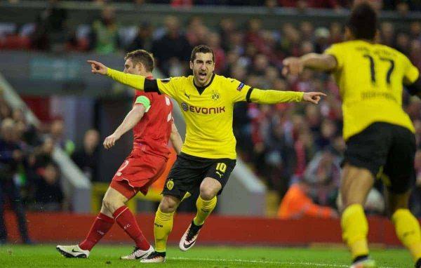 LIVERPOOL, ENGLAND - Thursday, April 14, 2016: Borussia Dortmund's Henrik Mkhitaryan celebrates scoring the first goal against Liverpool during the UEFA Europa League Quarter-Final 2nd Leg match at Anfield. (Pic by David Rawcliffe/Propaganda)
