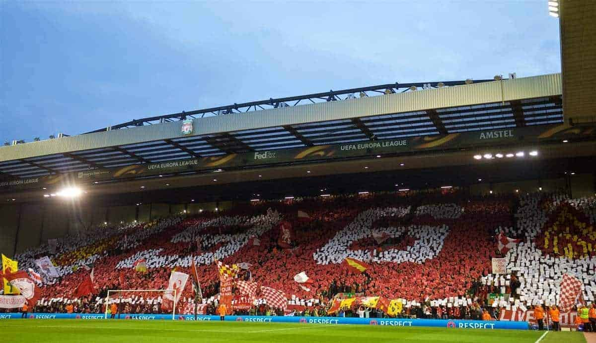 "LIVERPOOL, ENGLAND - Thursday, April 14, 2016: Liverpool supporters on the Spion Kop form a mosaic ""96"", in memory of the 96 victims of the Hillsborough Disaster, before the UEFA Europa League Quarter-Final 2nd Leg match against Borussia Dortmund at Anfield. (Pic by David Rawcliffe/Propaganda)"