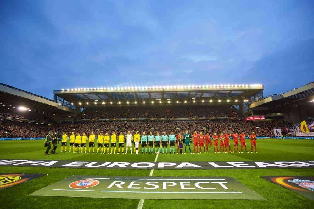 LIVERPOOL, ENGLAND - Thursday, April 14, 2016: Liverpool and Borussia Dortmund players before the UEFA Europa League Quarter-Final 2nd Leg match at Anfield. (Pic by David Rawcliffe/Propaganda)
