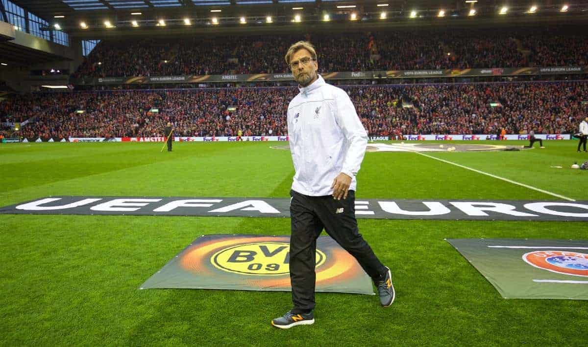 LIVERPOOL, ENGLAND - Thursday, April 14, 2016: Liverpool's manager Jürgen Klopp before the UEFA Europa League Quarter-Final 2nd Leg match against Borussia Dortmund at Anfield. (Pic by David Rawcliffe/Propaganda)