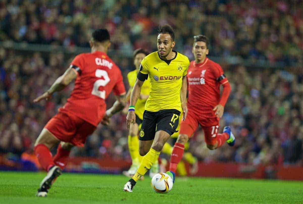 LIVERPOOL, ENGLAND - Thursday, April 14, 2016: Borussia Dortmund's Pierre-Emerick Aubameyang in action against Liverpool during the UEFA Europa League Quarter-Final 2nd Leg match at Anfield. (Pic by David Rawcliffe/Propaganda)