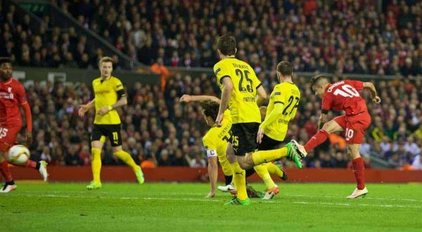 LIVERPOOL, ENGLAND - Thursday, April 14, 2016: Liverpool's Philippe Coutinho Correia scores the second goal against Borussia Dortmund during the UEFA Europa League Quarter-Final 2nd Leg match at Anfield. (Pic by David Rawcliffe/Propaganda)