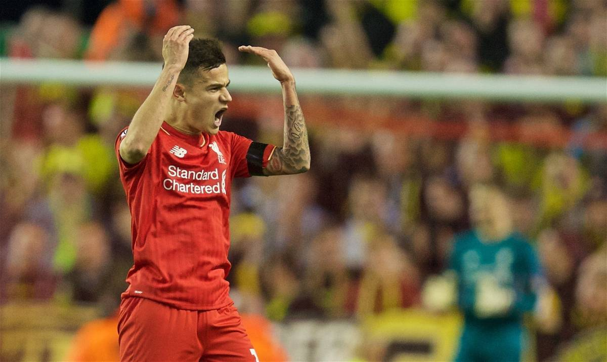 LIVERPOOL, ENGLAND - Thursday, April 14, 2016: Liverpool's Philippe Coutinho Correia celebrates scoring the second goal against Borussia Dortmund during the UEFA Europa League Quarter-Final 2nd Leg match at Anfield. (Pic by David Rawcliffe/Propaganda)