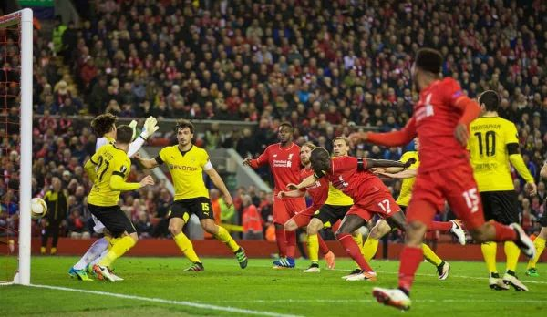 LIVERPOOL, ENGLAND - Thursday, April 14, 2016: Liverpool's Mamadou Sakho scores the third goal against Borussia Dortmund during the UEFA Europa League Quarter-Final 2nd Leg match at Anfield. (Pic by David Rawcliffe/Propaganda)