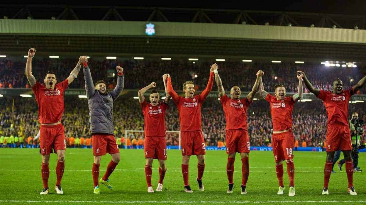 LIVERPOOL, ENGLAND - Thursday, April 14, 2016: Liverpool players celebrate the incredible 4-3 (5-4 aggregate) victory over Borussia Dortmund during the UEFA Europa League Quarter-Final 2nd Leg match at Anfield. Dejan Lovren, Adam Lallana, Philippe Coutinho Correia, Lucas Leiva, Nathaniel Clyne, Alberto Moreno, Mamadou Sakho. (Pic by David Rawcliffe/Propaganda)