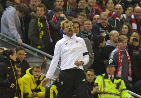 Liverpool's manager J¸rgen Klopp urges the supporters on against Borussia Dortmund during the UEFA Europa League Quarter-Final 2nd Leg match at Anfield. (Pic by David Rawcliffe/Propaganda)